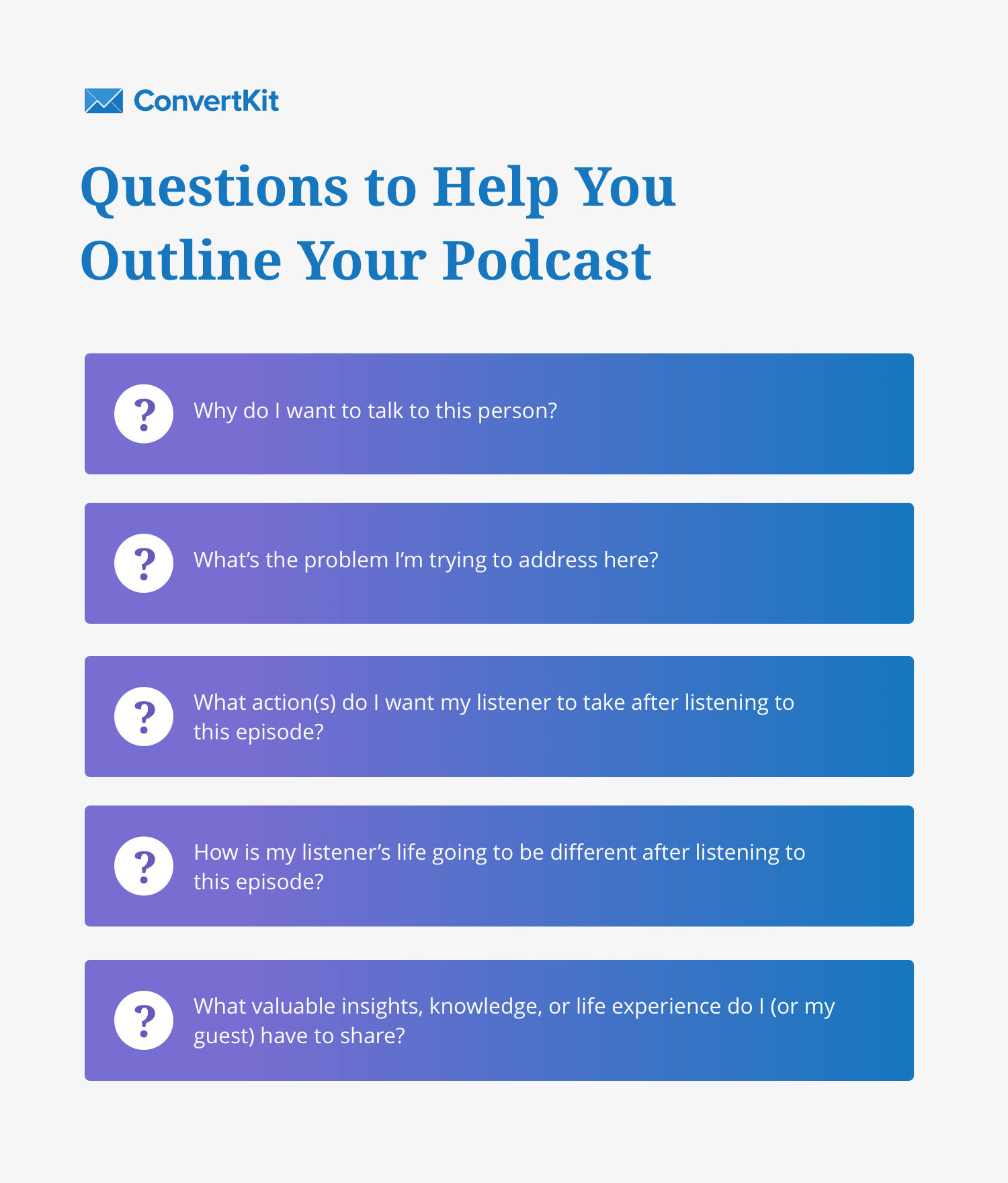 Podcast outline questions